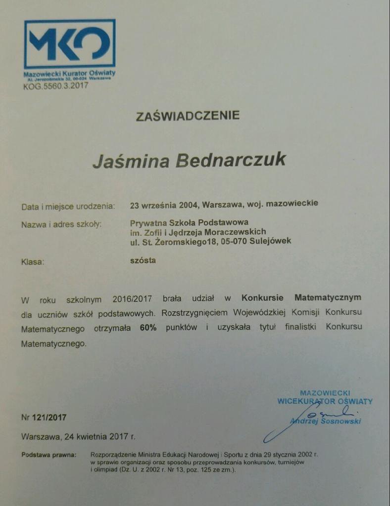 szkoła w sulejówku, moracz, Jaśmina Bednarczuk,