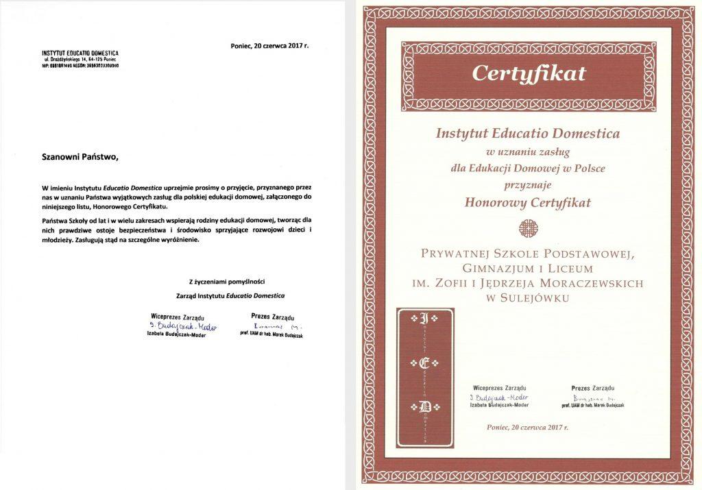 honorowy certyfikat, certyfikat dla szkoły w sulejówku, szkoła w sulejówku, szkoła imienia Moraczewskich, edukacja domowa,