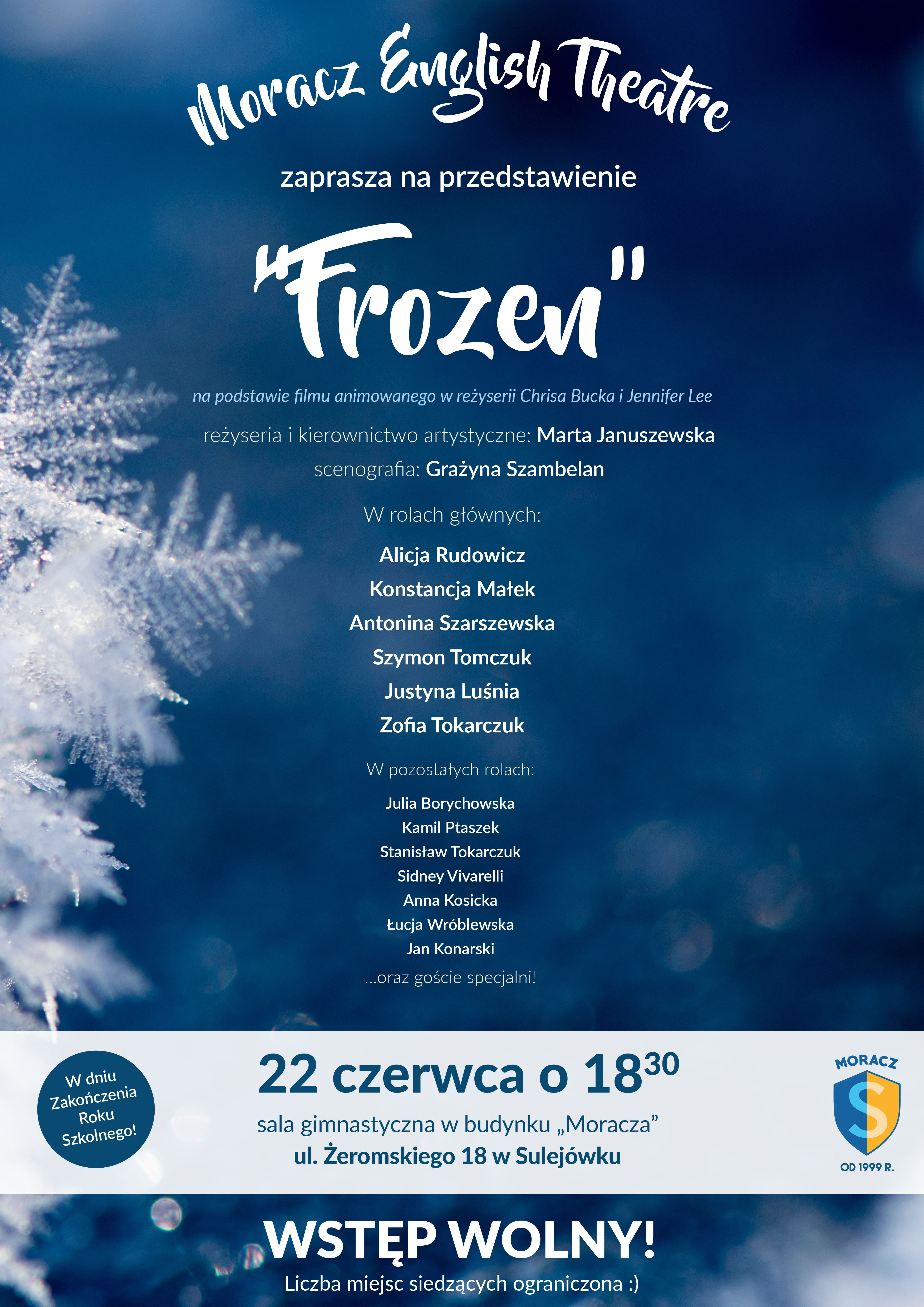 przedstawienie Frozen, przedstawienie w szkole moraczewskich, zakończenie roku szkolnego, szkola moraczewskich